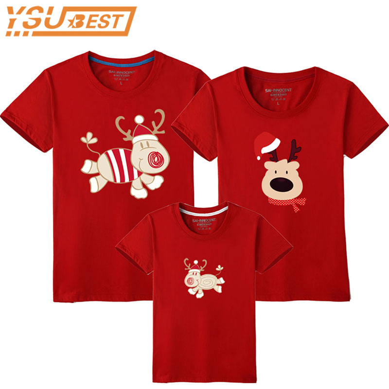 Family Look Christmas Family Matching Outfits T Shirt Mother Daughter Short Sleeve Dad Mom Baby Family Suit Father Son Clothes купить недорого в Москве