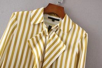 Women Sweet Striped Ruffles Shirts Long Sleeve Turn Down Collar Pleated Blouses Ladies Office Wear Brand