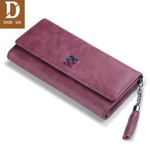 DIDE 2019 Genuine Leather fashion Design Wallet Women Purse Card Holder Long Lady Female Zipper Tassel Carteira Feminina