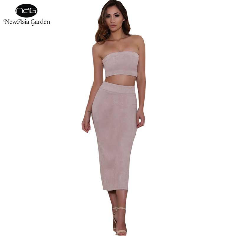 Sexy Strapless Women s Suede Dress Sets 2 Pieces Suit Autumn Winter Spring High Waist Midi