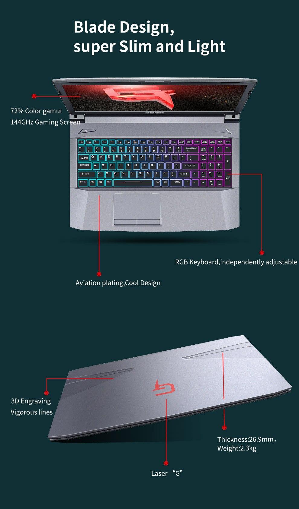"""HTB1HdARKeOSBuNjy0Fdq6zDnVXaG Bben G16X I7-8750HQ DDR4 Gaming Laptop Nvidia GTX1050TI 15.6"""" Laptop Pro Windows 8GB/16GB/32GB RAM M.2 SSD"""