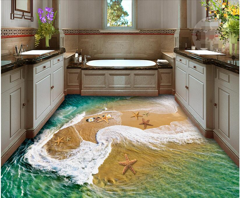 3d  flooring custom photo waterproof wall paper self adhesion sticker Starfish in the ocean sea painting wallpaper for walls 3 d the woman in the photo