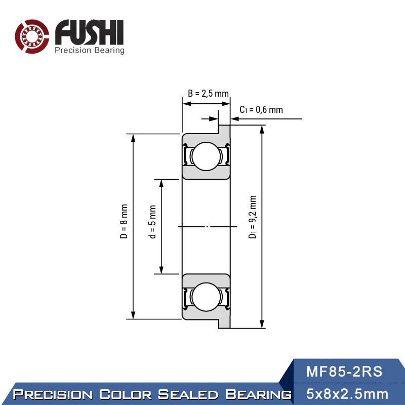 5 PCS MF85-2RS BLACK 5x8x2.5 mm MF85RS Flange Rubber Sealed Ball Bearing