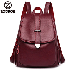 Image 1 - NEW Women Backpack high quality Leather  Fashion school Backpacks Female Feminine Casual Large Capacity Vintage Shoulder Bags