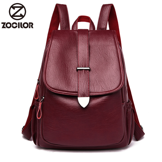 NEW Women Backpack high quality Leather  Fashion school Backpacks Female Feminine Casual Large Capacity Vintage Shoulder Bags