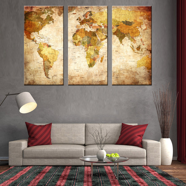 3 pcsset large still life vintage world maps canvas print wall painting classic map