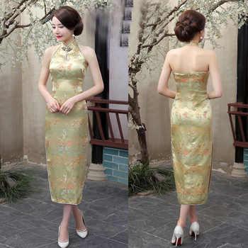 Sexy New Navyblue Women\'s Evening Party Dress Brand Chinese Backless Cheong-sam Long Cheongsam Qipao S M L XL XXL XXXL 0115051