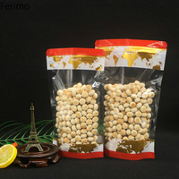 Ferimo 100pcs Map pattern zipper ziplock stand up packaging bags party favors gift candy food powder closet organizer pocket