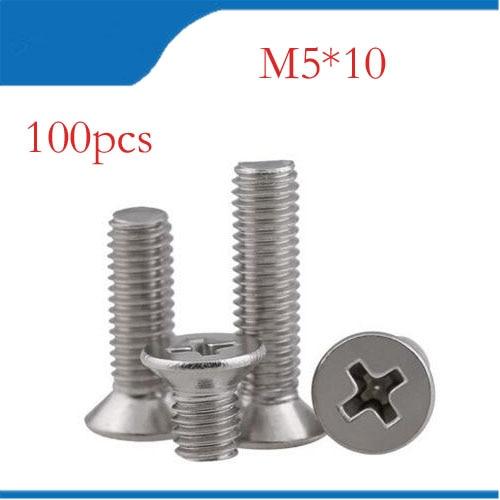 100pcsLot GB819 M5x10 mm M5*10 mm 304 Stainless Steel flat head cross Countersunk head screw