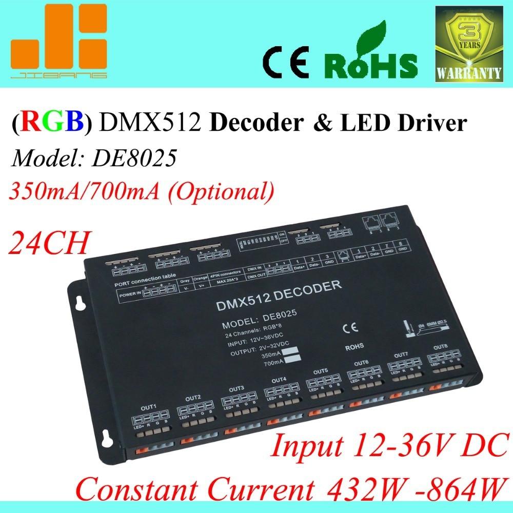 Free Shipping 24 Channels DMX Driver, Constant Current 350mA / 700mA opt. , 12V-36V RGB Controller DE8025 free shipping 12 channels dmx driver rgb driver led decoder dmx512 12v 24v constant voltage output pwm