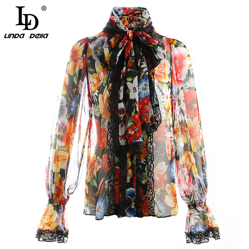 LD LINDA DELLA Designer Silk Blouses Women's Long Sleeve Bow Collar Lace Floral Printed Elegant Shirt Fashion Top Shirts