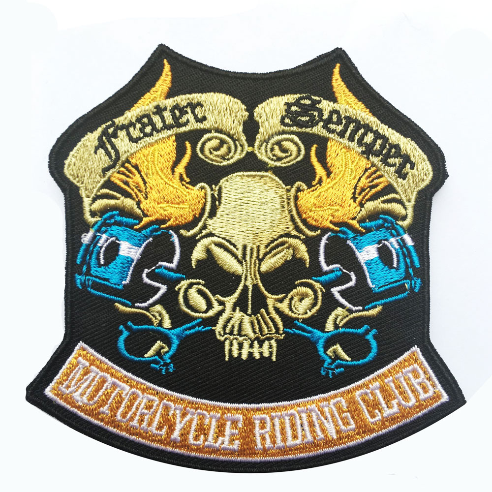 Skull skeleton iron on patch embroidered applique sewing label punk biker patches clothes stickers apparel accessories badge