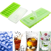 DIY Ice Cube 16 Grids Ice Cube Tray Ice Cube Mould Tool Cool Freeze Mold Maker with Cover Making Tray For Water Party Drinks