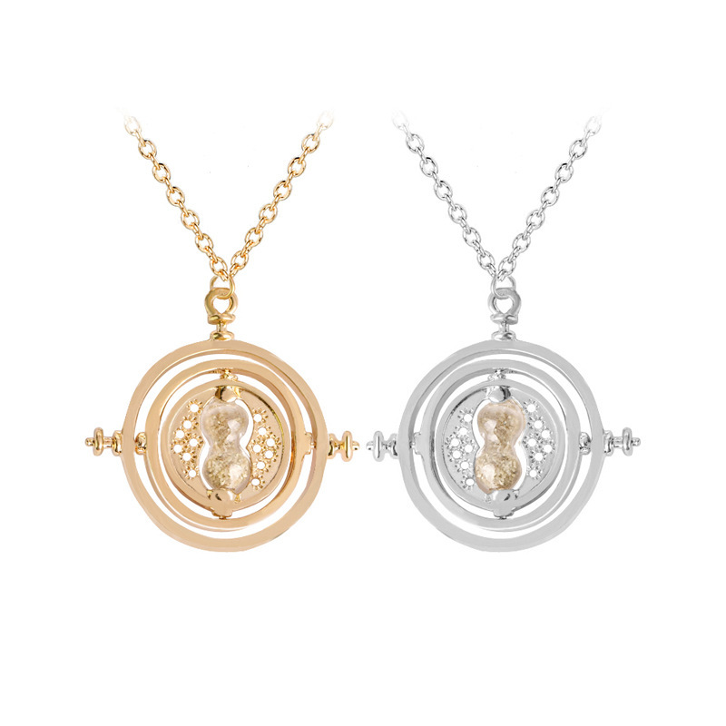 3.5 cm Diameter Time Turner Necklace For Kids Movie Jewelry Hermione Rotating Hourglass Necklaces Horcruxes Magic Necklace