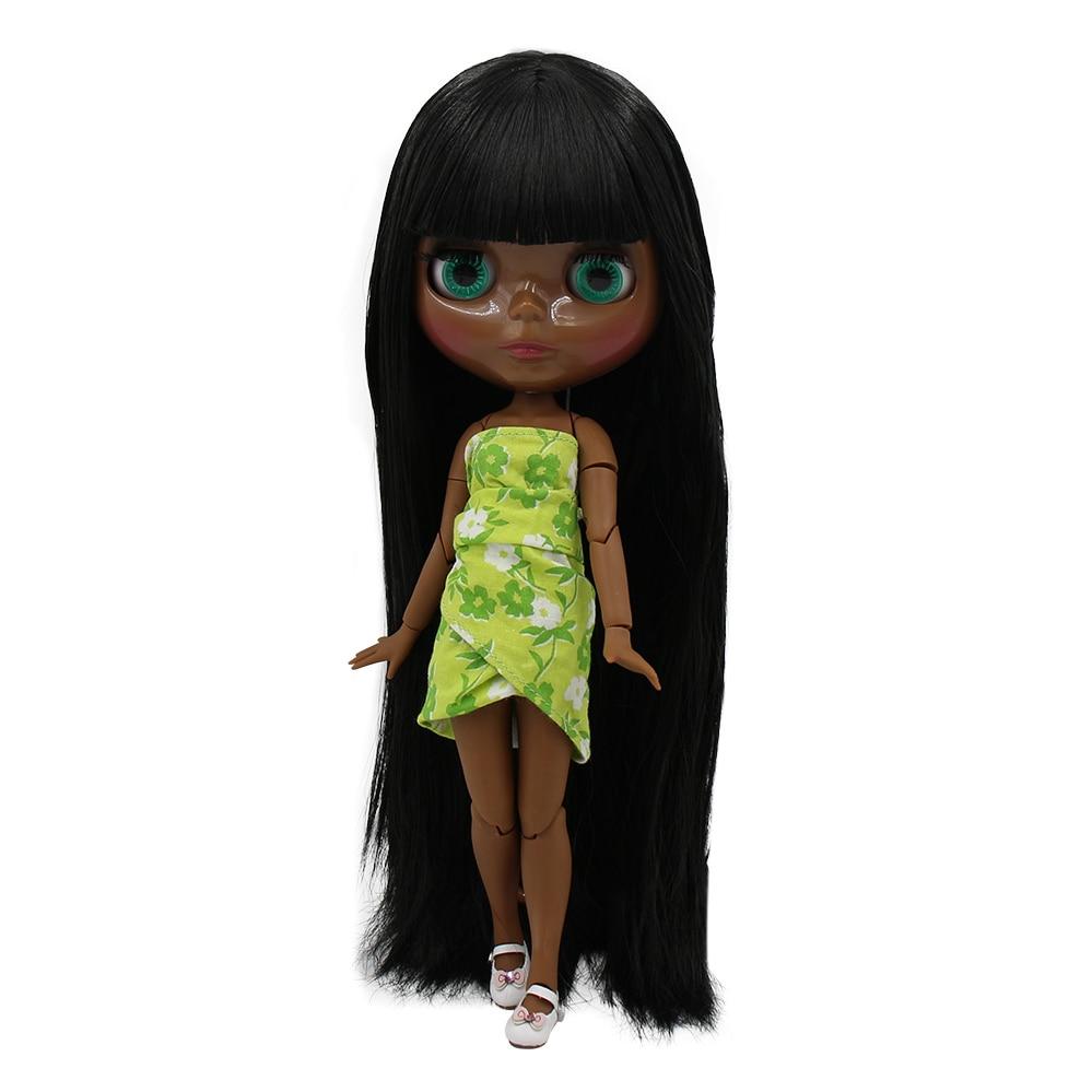 SUPER BLACK Dark skin tone Blyth doll Black soft long straight hair JOINT Azone body 1