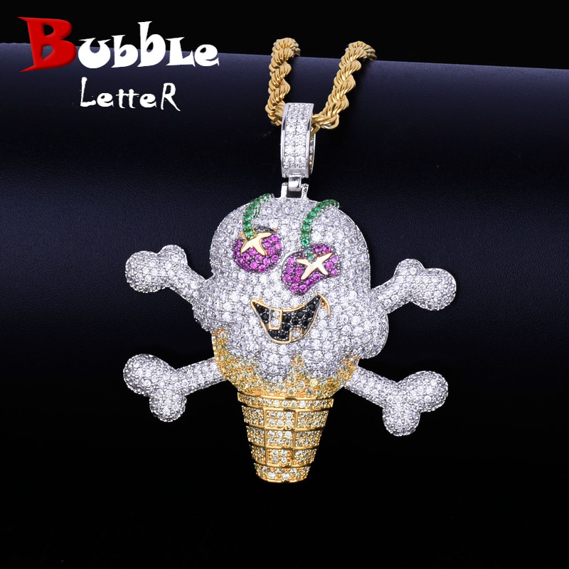 Skull Ice Cream Shape Necklace Pendant Rope Chain Gold Color AAA Cubic Zircon Men's Hip Hop Jewelry