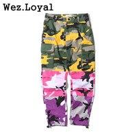 Wez Loyal New Hot 2018 Mens Pants Hip Hop Camouflage Trousers Tri Color Camo Patchwork Cargo