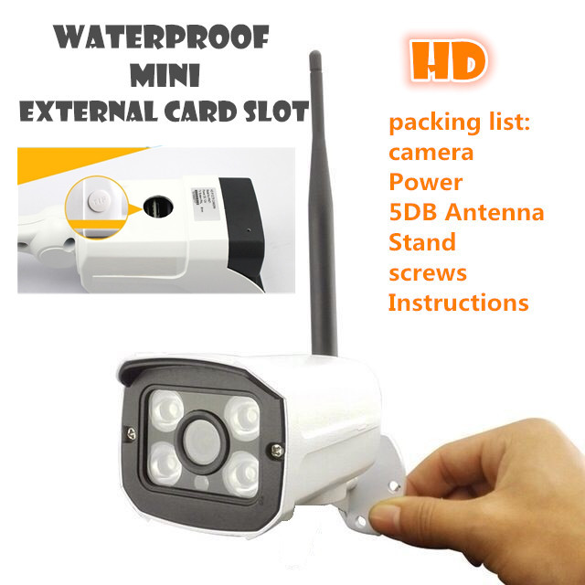 waterproof Outdoor Wireless  ip camera WIFI Megapixel 720p HD   Security CCTV network IR Infrared SD Card Slot P2P Bullet outdoor ip camera wifi megapixel 720p hd security cctv ip cam ir infrared sd card slot p2p v380 bullet kamera