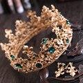 В 2016 году новый зеленый Барокко королева круглый золотая корона Свадебный волосы Ювелирные Изделия