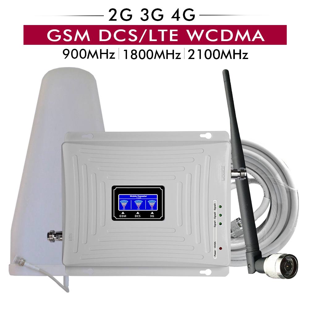 2G 3G 4G Signal Repeater Tri Band GSM 900 DCS LTE 1800 WCDMA 2100 Cell Phone Signal Booster Mobile Signal Amplifier Antenna Set2G 3G 4G Signal Repeater Tri Band GSM 900 DCS LTE 1800 WCDMA 2100 Cell Phone Signal Booster Mobile Signal Amplifier Antenna Set