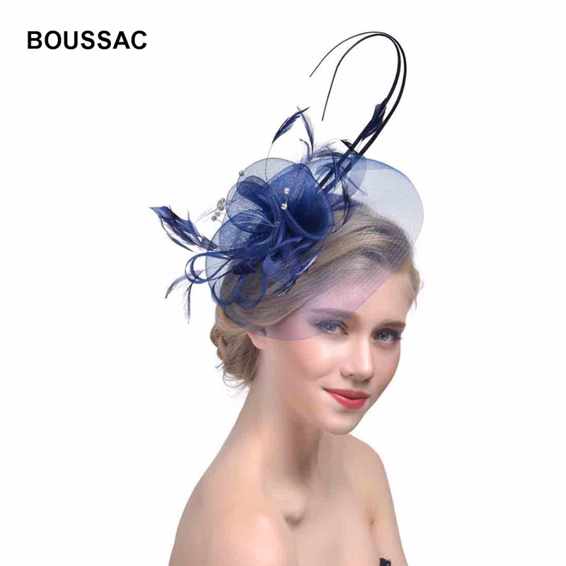 6dce997164ea2 BUTTERMERE Linen Fedoras Hat Women Navy Blue Wedding Hats Ladies Elegant  Fascinators Flower Feather Party Designer ...