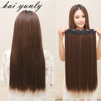 Wig Long Straight Womens Lady One Piece 5 Clips in Hair Wig Party Hairpieces Styling Accessory Light Brown Sep 2