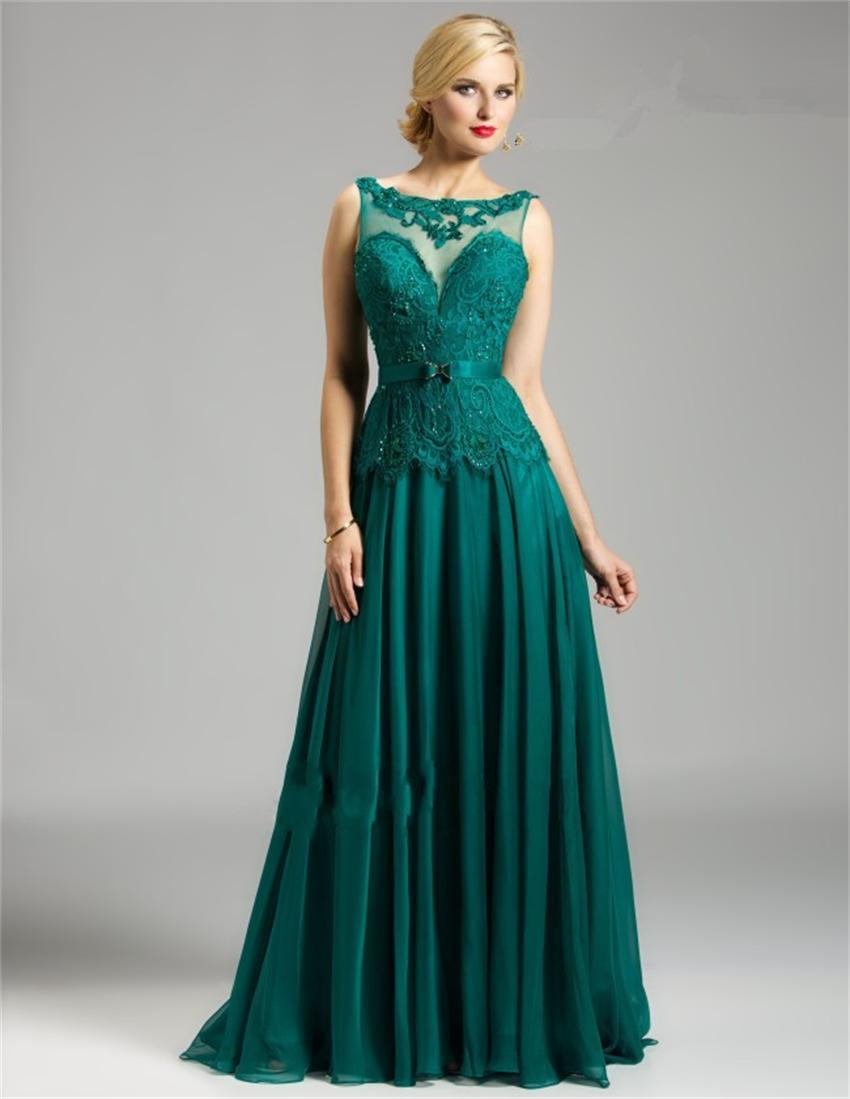 Vestido de fiesta color verde esmeralda