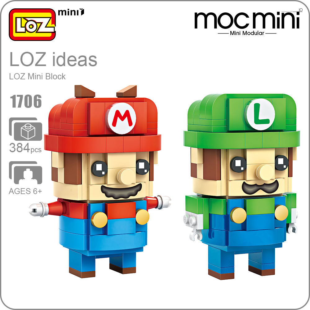 LOZ Mini Blocks Super Action Figure Blocks Brothers Toys POP Chibi Toys DIY Cute Model Gift for Children Building Blocks 1706 loz architecture space shuttle mini diamond nano building blocks toys loz space shuttle diy bricks action figure children toys