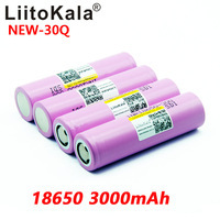 8PCS New LiitoKala 100% original  INR 18650 battery 3.7V 3000mAh INR18650 30Q li ion Rechargeable Batteries
