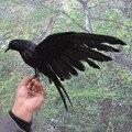 Proposición de Halloween de plástico y plumas Cuervo Cuervo pájaro grande 25x40cmspreading alas Negro de juguete modelo de juguete, Performance prop, regalo w5549