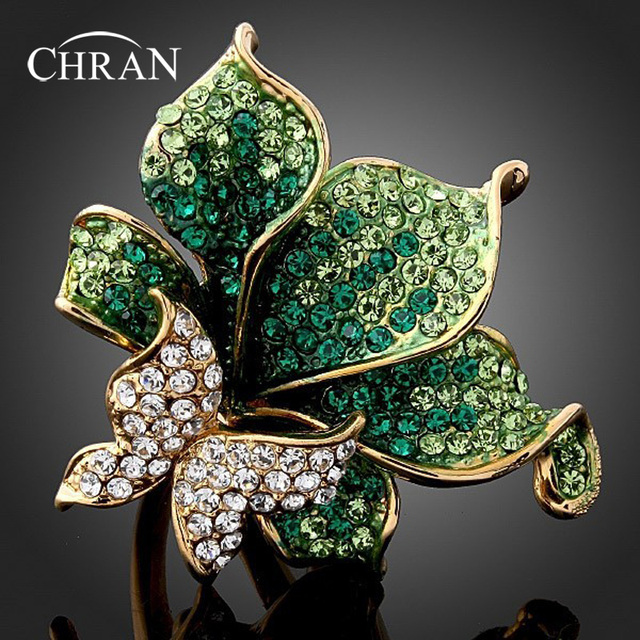 Chran New Green Crystal Rhinestone Ring Butterfly Dragonfly Fashion Rings for Women Red,Purple,Gold (Dragon DFDR0051)