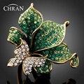 Chran Nuevo Verde Esmeralda Anillo de Diamantes de Imitación de La Mariposa de la Libélula Anillos de Moda para Las Mujeres Rojo, Púrpura, Oro (Dragón DFDR0051)