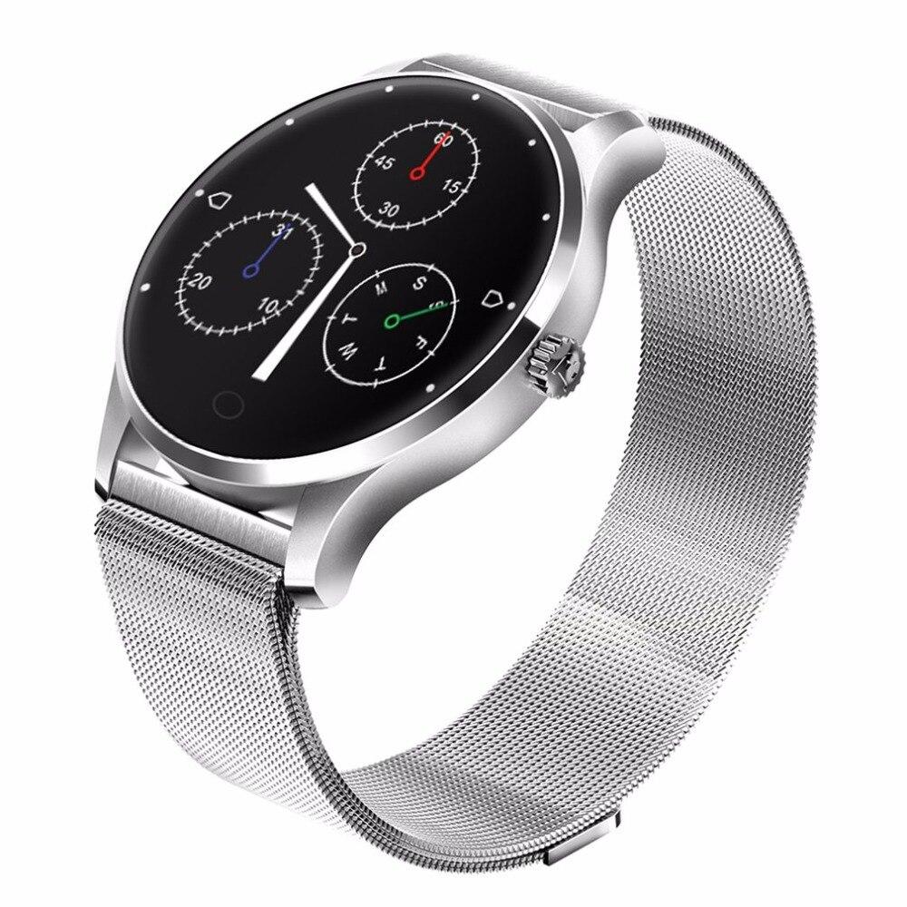 Bluetooth 4.0 mode montre intelligente Ultra mince maille ceinture en acier inoxydable montre-bracelet 1.22 pouces IPS écran montre intelligente femmes Android