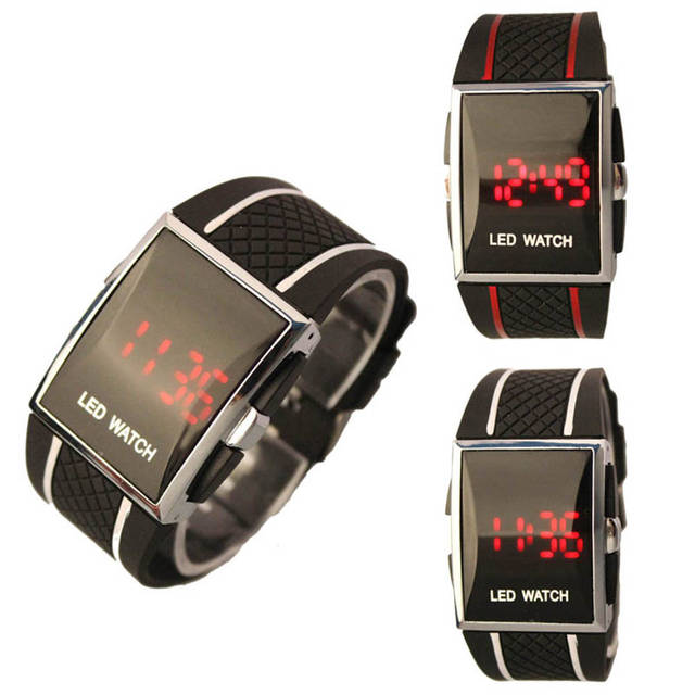 Digital watches New Arrivals Silicone Strap Boy Men Stylish LED Date Silicone Ba