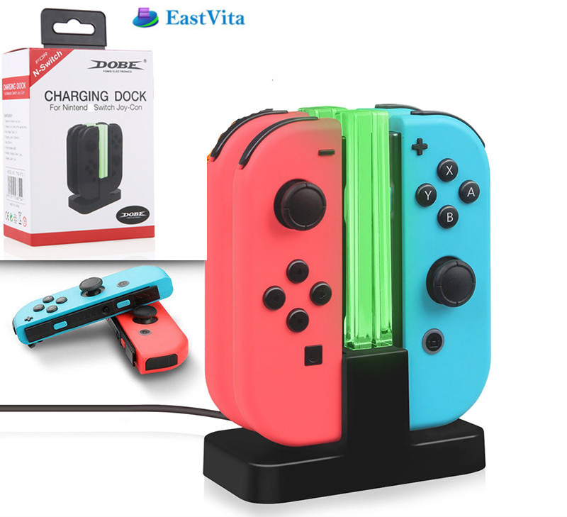 EastVita 4-in-1 Game Controller USB Charge Station Joy-Con Controller Video Game Console Charger Stand for Nintend Switch r60