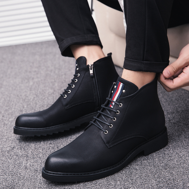 2163e1adb US $33.04 41% OFF|Classic genuine Leather Men Vintage Style Casual Winter  Fashion Boots High Quality Vintage Winter Men Shoes Motorcycle Boots k4-in  ...