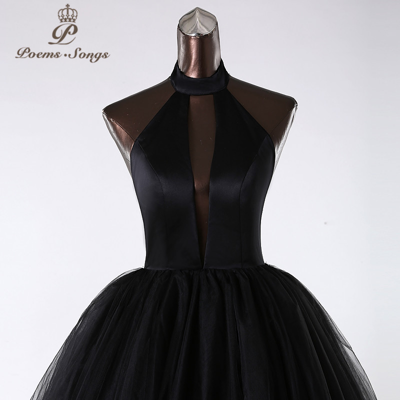 PoemsSongs 2019New style custom made Very sexy backless wedding dress white black red vestido de noiva brides dress ball gown - 2