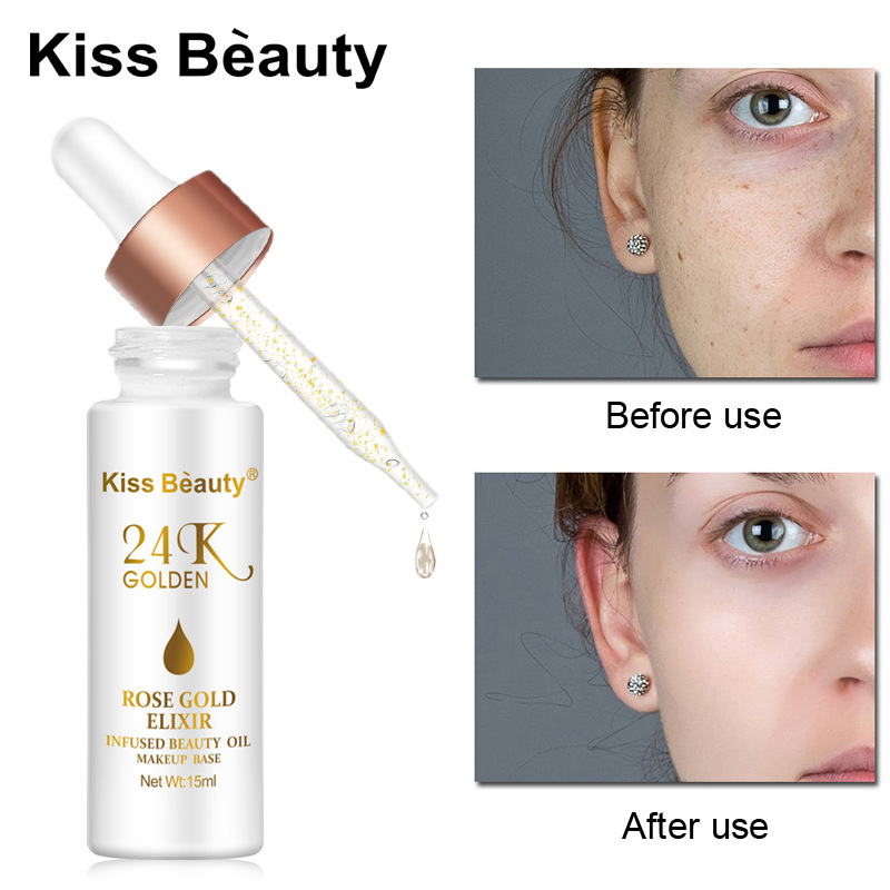 New Face Skin Care 24K Rose Gold Face Oil Moisturizing Face Serum Natural Essential Oil For Face Base Makeup KB024