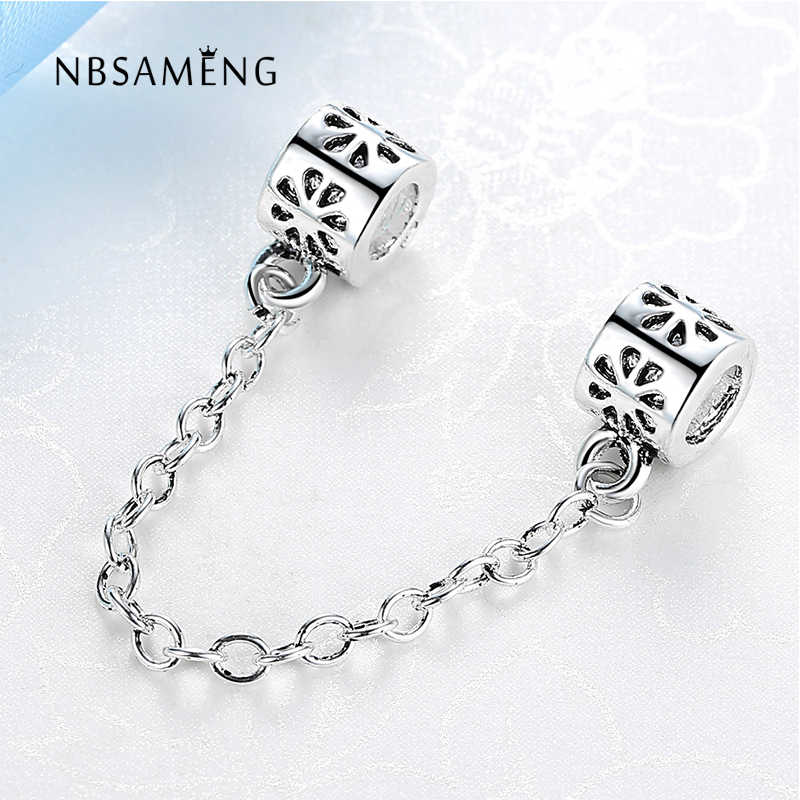 New Silver Plated Bead Charm European Vintage Flower Safety Chain Beads Fit Pandora Women Bracelet & Bangle Diy Jewelry YW15235