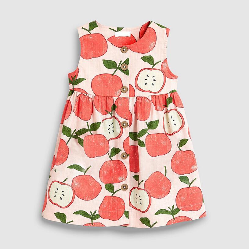 Little Maven 2021 New Summer Baby Girls Clothes Brand Dress Kids Cotton Animal Leopard Fruit Flower Print Sleeveless Dresses 3