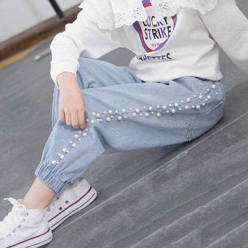 Новинка 2019 года; сезон весна-осень; хлопковые джинсовые брюки с бисером для девочек-подростков; детские свободные леггинсы для девочек; Одежда для маленьких девочек; джинсовые брюки; T144