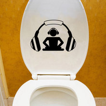 DJ Headphones Music Fashion Home Decor Wall Sticker Vinyl Toilet Decal 6WS0153(China)