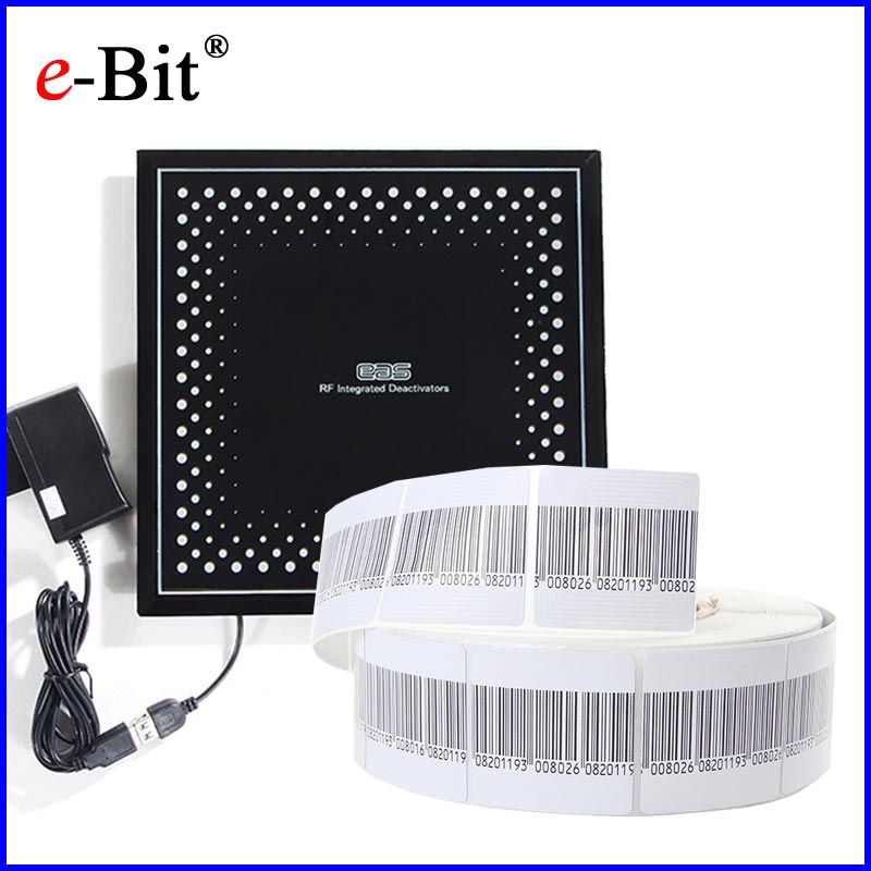 EAS RF 8.2MHz Soft Label Barcode 1000pcs + 1pc EAS RF Soft Label Deactivator