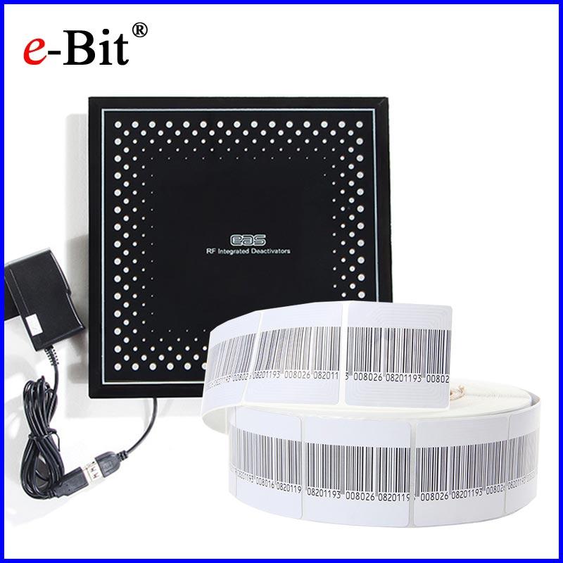 EAS RF 8.2MHz Soft Label Barcode 1000pcs + 1pc EAS RF Soft Label Deactivator