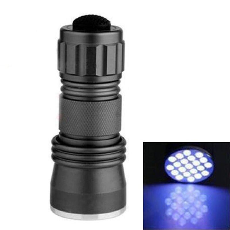 New  Portable Flash Lights  UV Ultra Violet 21 LED Flashlight Mini Blacklight Aluminum Torch Light Lamp VEM47 P20