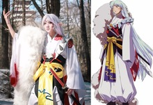 Anime InuYasha Sesshoumaru Cosplay Costume Kimono+Pauldrons+Tail Full Set Outfit Halloween Party Adult Costumes for Women/Men