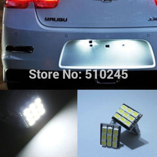 500X NEW hot white 194 168 501 W5W Bright T10 9 SMD 3020 1206 auto Car White 9 LED Light DC 12V License Plate Lamp free shipping