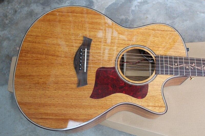 Usine boutique personnalisée 41 ''cutaway Koa guitare électrique acoustique intégré pick-up EQ livraison gratuite