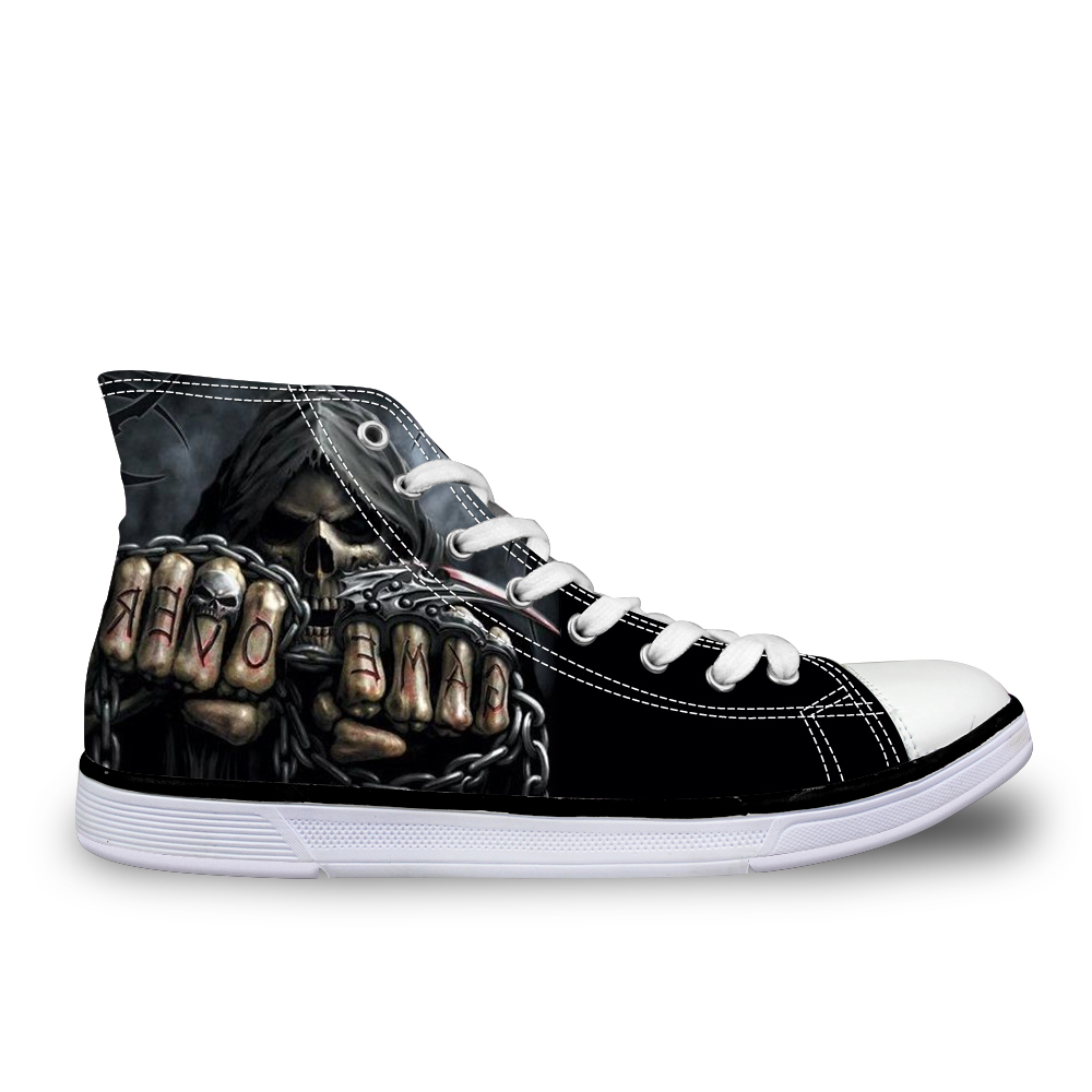 INSTANTARTS Punk Azrael Skull Print Men Canvas Shoes Casual Man's Lace up Flats Shoes Fashion High top Vulcanized Shoes for Boys