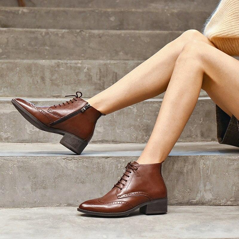 BeauToday حذاء من الجلد النساء العلامة التجارية البروغ حذاء أيرلندي نمط قمة الجناح الدانتيل متابعة حقيقية جلد العجل أحذية السيدات اليدوية 03233-في أحذية الكاحل من أحذية على  مجموعة 3